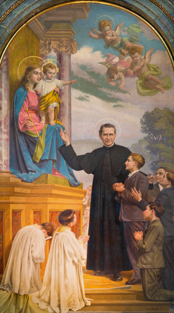 TURIN, ITALY - MARCH 15, 2017: The painting of Don Bosco and Mary Help of Christians in church Basilica Maria Ausiliatrice by Paolo Giovanni Crida (1941). Editorial