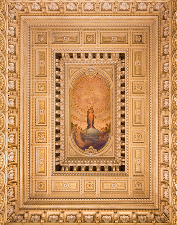 TURIN, ITALY - MARCH 13, 2017: The ceiling fresco of Immaculate Conception and Heart of Jesus in side chapel of church Chiesa di Santo Tomaso  designed by architect Giuseppe Gallo (1860 - 1927).