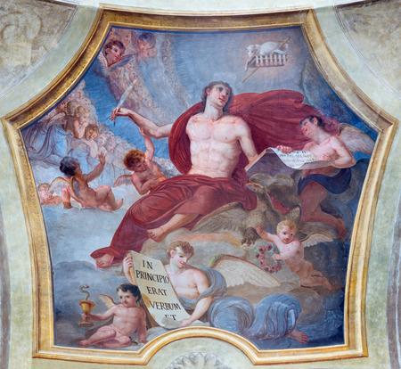TURIN, ITALY - MARCH 13, 2017: The fresco of St. John the Evangelist in church Chiesa di San Lorenzo by Carlo Felice (1827).