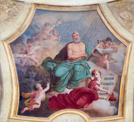 TURIN, ITALY - MARCH 13, 2017: The fresco of St. Mark the Evangelist in church Chiesa di San Lorenzo by Carlo Felice (1827).