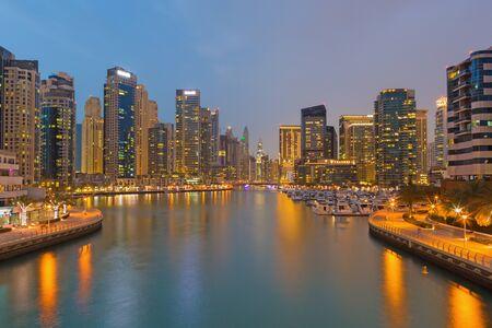 DUBAI, UAE - MARCH 28, 2017: The evening Marina.