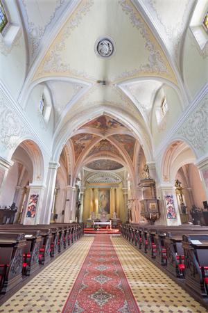 BANSKA STIAVNICA, SLOVAKIA - FEBRUARY 5, 2015: The nave of Parish church.