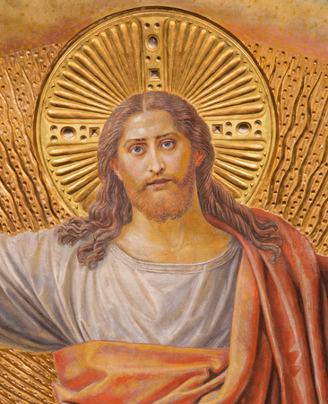 BERLIN, GERMANY, FEBRUARY - 14, 2017: The Fresco of Jesus Christ in main apse of Herz Jesus church by Friedrich Stummel and Karl Wenzel from end of 19. and beginn of 20. cent. Editorial