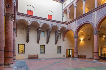 BOLOGNA, ITALY - MARCH 16, 2014: Atrium of Museo civico medievale - Medieval museum Editorial
