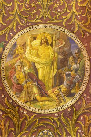 BERLIN, GERMANY, FEBRUARY - 14, 2017: The fresco of Resurrection of Jesus in church Rosenkranz Basilica by Friedrich Stummels, Karl Wenzel, and Theodor Nuttgens from begin of 20. cent..