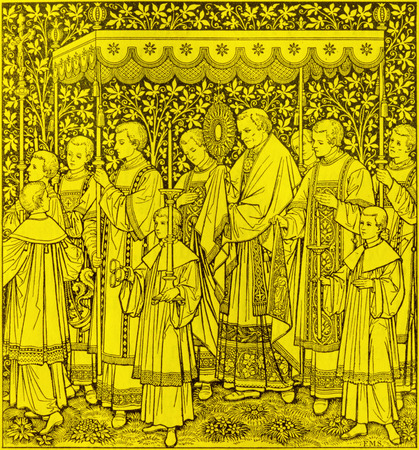 BRATISLAVA, SLOVAKIA, NOVEMBER - 21, 2016: The lithography of The feast of  The Most Holy Body and Blood of Christ procession by unknown artist F.M.S  (1889) and printed by Typis Friderici Pustet. Editorial