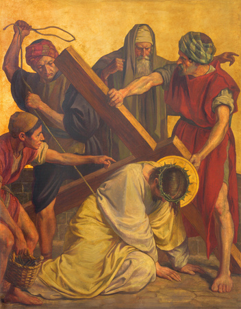 BERLIN, GERMANY, FEBRUARY - 16, 2017:  The paint on the metal plate - Jesus fall under cross in church St. Matthew  by Philipp Schumacher (1907 - 1915). Editorial