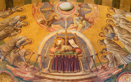 BERLIN, GERMANY, FEBRUARY - 14, 2017: The Fresco of The Lab of God in main apse of Herz Jesus church by Friedrich Stummel and Karl Wenzel from end of 19. and beginn of 20. cent. Editorial
