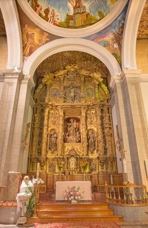 saint: AVILA, SPAIN, APRIL - 19, 2016: The baroque main altar in church Convento San Antonio from 18.cent.