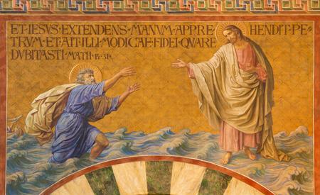 BERLIN, GERMANY, FEBRUARY - 14, 2017: The Fresco of Peter, walking on water toward Jesus in Herz Jesus church by Friedrich Stummel and Karl Wenzel from end of 19. and beginn of 20. cent.
