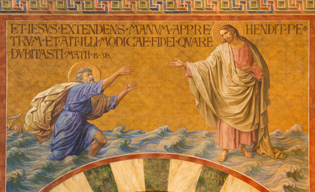 BERLIN, GERMANY, FEBRUARY - 14, 2017: The Fresco of Peter, walking on water toward Jesus in Herz Jesus church by Friedrich Stummel and Karl Wenzel from end of 19. and beginn of 20. cent.