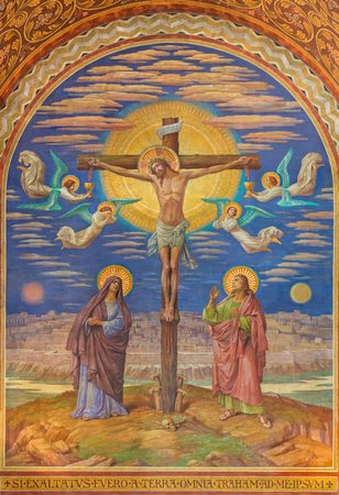 BERLIN, GERMANY, FEBRUARY - 14, 2017: The Fresco of Crucifixion in Herz Jesus church by Friedrich Stummel and Karl Wenzel from end of 19. and beginn of 20. cent.