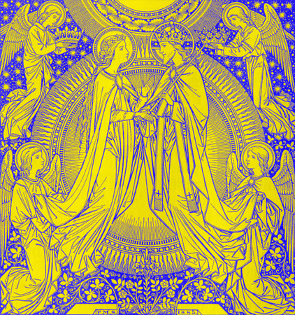 BRATISLAVA, SLOVAKIA, NOVEMBER - 21, 2016: The lithography of Coronation of Virgin Mary by unknown artist with the initials F.M.S (1885) and printed by Typis Friderici Pustet. Editorial