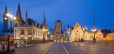 GHENT, BELGIUM - Look from Saint Michael s bridge to Nicholas church and town hall in evening.