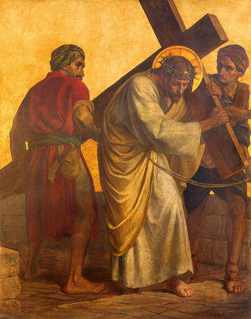 BERLIN, GERMANY, FEBRUARY - 16, 2017:  The paint on the metal plate - Simon of Cyrene helps Jesus carry the cross in church St. Matthew  by Philipp Schumacher (1907 - 1915). Editorial