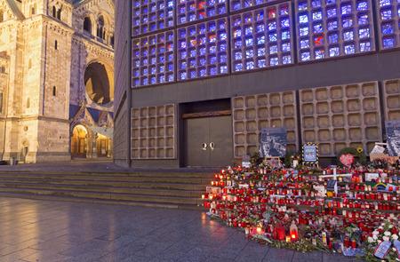 BERLIN, GERMANY, FEBRUARY - 17, 2017: The church Kaiser Wilhelm Gedachtniskirche at dusk.