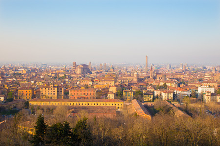Bologna - Outlook to Bologna old town from church San Michele in Bosco in evening light.