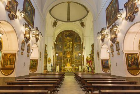 CORDOBA, SPAIN - MAY 27, 2015: The nave of church Convento de Capuchinos (Iglesia Santo Anchel).