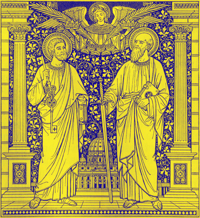 BRATISLAVA, SLOVAKIA, NOVEMBER - 21, 2016: The lithography of St. Peter and Paul in Missale Romanum by unknown artist with the initials F.M.S  (end of 19. cent.) and printed by Typis Friderici Pustet.