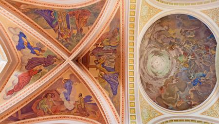 BANSKA STIAVNICA, SLOVAKIA - FEBRUARY 5, 2015: The fresco of Nativity scene on the ceiling of parish church from year 1910 by P. J. Kern.