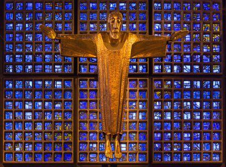 BERLIN, GERMANY, FEBRUARY - 15, 2017: The modern Jesus Christ statue in Kaiser Wilhelm Gedachtniskirche by Karl Hemmeter (1904 - 1986). Editorial