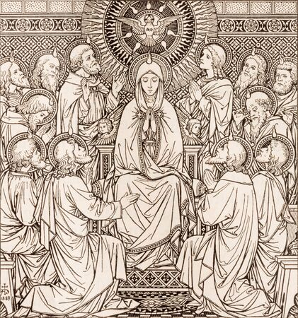 BRATISLAVA, SLOVAKIA, NOVEMBER - 21, 2016: The lithography of The Pentecost in Missale Romanum by unknown artist with the initials F.M.S  (1889) and printed by Typis Friderici Pustet. Editoriali
