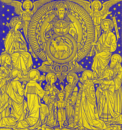 BRATISLAVA, SLOVAKIA, NOVEMBER - 21, 2016: The lithography of Holy Trinity in Missale Romanum by unknown artist with the initials F.M.S from end of 19. cent. and printed by Typis Friderici Pustet.