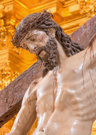 polychrome: CORDOBA, SPAIN - MAY 26, 2015: The Christ descending from the cross statue in church of Monastery of st. Ann and st.Joseph (Convento de Santa Ana y San Jose). Editorial