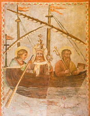 ROME, ITALY - MARCH 12, 2016: The symbolic fresco of the pope on the ship of the Church in church Basilica di Santi Quattro Coronati by unknown artist of 14. cent.
