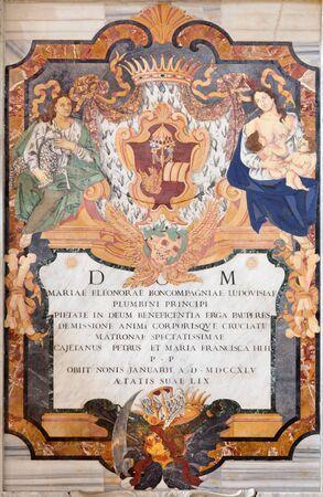 ROME, ITALY - MARCH 9, 2016: The mosaic from the Monument of Maria Eleonora Boncompagni in church Basilica di Santa Maria del Popolo by Domenico Gregorini in 1749. Editorial