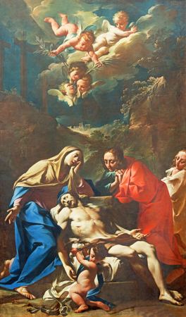 BRESCIA, ITALY - MAY 21, 2016:  The painting of Pieta with the St. John the Evengelist in church Chiesa di San Zeno by Francesco Monti (1685 - 1768).