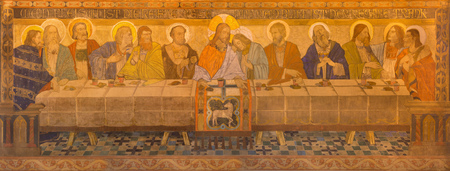 BERLIN, GERMANY, FEBRUARY - 16, 2017: The fresco of Last Supper in St. Pauls evengelical church by workroom Gathemann & Kellner from beginn of 20. cent. in Editorial