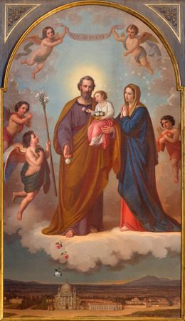 TURIN, ITALY - MARCH 15, 2017:  The painting of Holy Family in church Basilica Maria Ausiliatrice by Tommaso Lorenzone (1824  - 1902). Editoriali