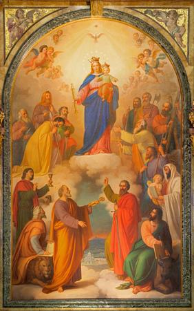 トリノ, イタリア - 2017 年 3 月 15 日: 聖母子教会聖堂トマソ ・ Lorenzone (1824-1902 年) によって扶助者聖マリアで鉱山の祭壇の上の絵。 報道画像
