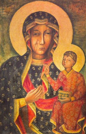 BERLIN, GERMANY, FEBRUARY - 15, 2017: The painting of Ikon Mother Mary of Czestochowa (Black Madonna) in St. John the Baptist church by unknown artist of 20. cent. Editorial