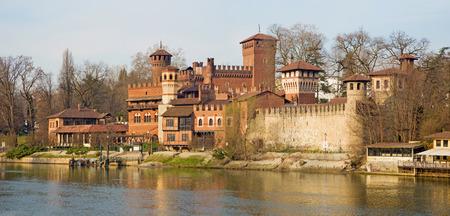 Turin - The panorama of Borgo Medievale castle. Stock Photo