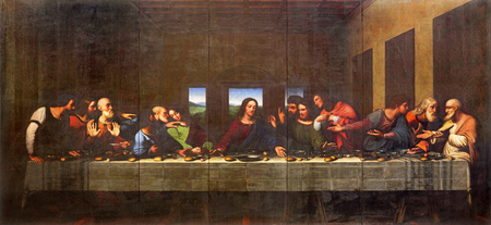 TURIN, ITALY - MARCH 13, 2017: The painting of Last Supper in Duomo after Leonardo da Vinci by Vercellese Luigi Cagna (1836). 에디토리얼