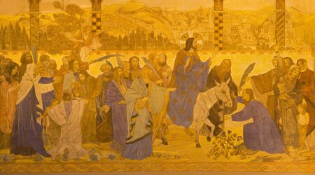 BERLIN, GERMANY, FEBRUARY - 16, 2017: The fresco of Palm Sunday in St. Pauls evengelical church by workroom Gathemann & Kellner from beginn of 20. cent. in