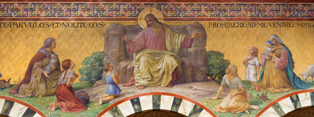 BERLIN, GERMANY, FEBRUARY - 14, 2017: The Fresco of Jesus Christ among the children in Herz Jesus church by Friedrich Stummel and Karl Wenzel from end of 19. and begin of 20. cent. Editorial