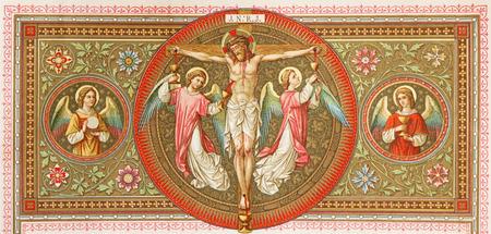 BRATISLAVA, SLOWAKIJE, 21 NOVEMBER 2016: De lithografie van de kruisiging in Missale Romanum door onbekende kunstenaar met de initialen FMS vanaf het einde van 19. cent. en gedrukt door Typis Friderici Pustet. Stockfoto - 87412819