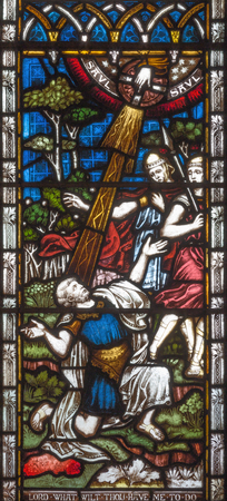 LONDON, GREAT BRITAIN - SEPTEMBER 19, 2017: The conversion of St. Paul on Stained glass in St Mary Abbot's church on Kensington High Street.