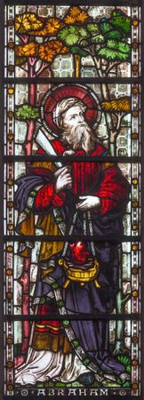 LONDON, GREAT BRITAIN - SEPTEMBER 19, 2017: The patriarch Abraham on the stained glass in St Mary Abbots church on Kensington High Street.