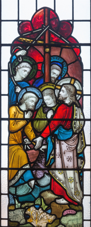 LONDON, GREAT BRITAIN - SEPTEMBER 19, 2017: The Christ Calling Peter and Andrew on the stained glass in St Mary Abbots church on Kensington High Street.
