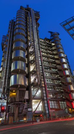 LONDON, GREAT BRITAIN - SEPTEMBER 18, 2017: The towers of  Lloyds building at dusk.