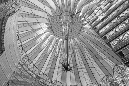 BERLIN, GERMANY, FEBRUARY - 15, 2017: The construction of cupola of Sony center in morning. The centre was designed by Helmut Jahn and Peter Walker  as landscape architect (completed in 2000).