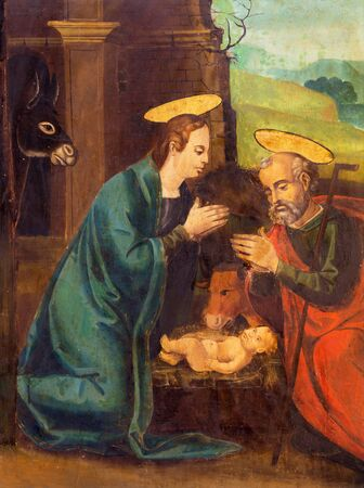 AVILA, SPAIN, APRIL - 18, 2016: The painting of Nativity on the side altar of Catedral de Cristo Salvador by unknown artist of 16. cent. Editorial