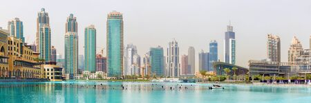 Dubai -  The fountain lake in the Downtown. Editorial