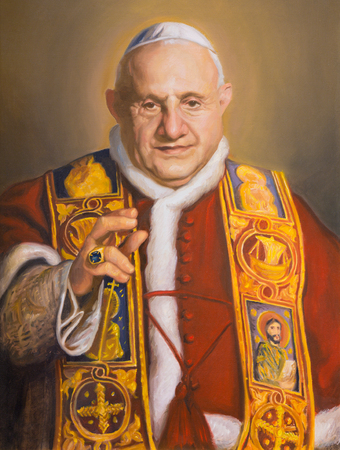 ウィーン、オーストリア - 2014年7月30日:教会カールスカーシュ(チャールズ・ボロメオ)の聖ヨハネXXIIIの肖像画(2014)。 報道画像