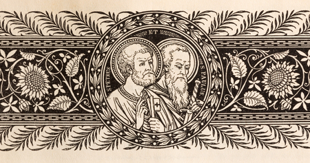BRATISLAVA, SLOVAKIA, NOVEMBER - 21, 2016: The lithography of St. Peter and Paul in Missale Romanum by unknown artist with initials F.M.S (19. cent.) and printed by Typis Friderici Pustet. Editorial