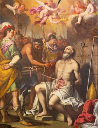 TURIN, ITALY - MARCH 13, 2017: The paintin of Torture of early christian bischop in church Chiesa di Santa Teresa by unknown artist. 에디토리얼